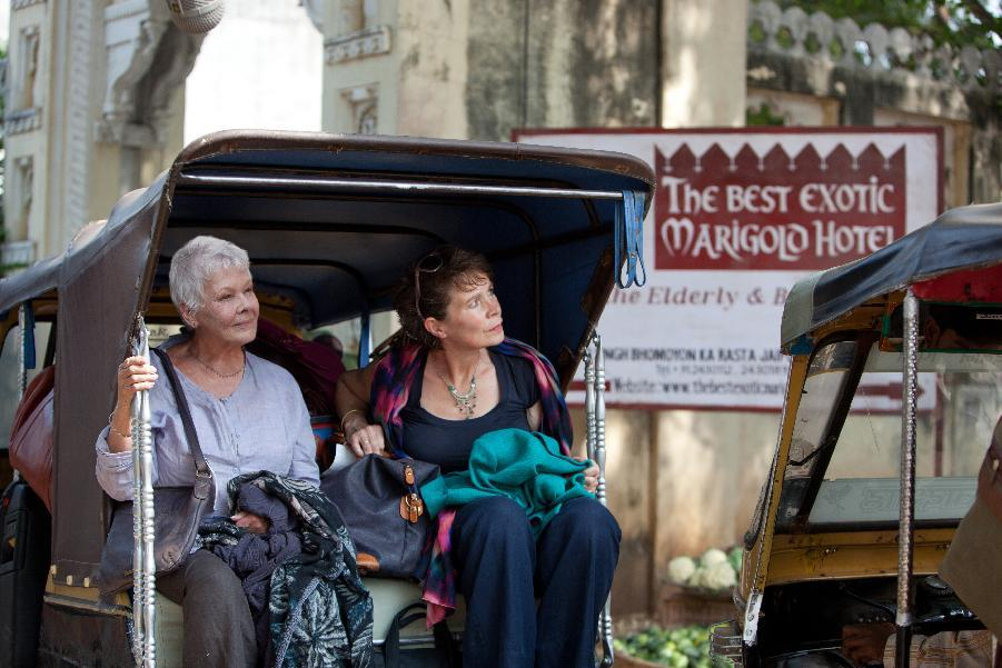 "In this film image released by Fox Searchlight films, Judi Dench, left, and Celia Imrie are shown in a scene from ""The Best Exotic Marigold Hotel."" (AP Photo/Fox Searchlight Films, Ishika Mohan)"