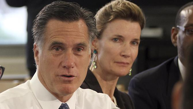 In this photo taken May 24, 2012, Republican presidential candidate, former Massachusetts Gov. Mitt Romney speaks at a school in Philadelphia. When Romney decried Barack Obama as beholden to the nation's teachers' unions and unable to stand up for reform, he glossed over four years of a relationship that has been anything but cozy.  (AP Photo/Mary Altaffer)