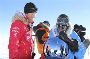Britain's Prince Harry is pictured in this handout photo arriving at the South Pole