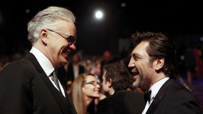 Bardem talks with Robbins before the Spanish Film Academy's Goya Awards ceremony in Madrid