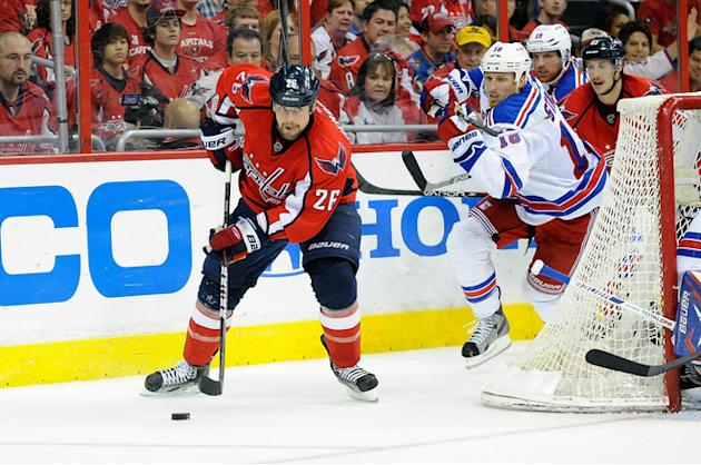 Matt Hendricks #26 Of The Washington Capitals Brings The Puck Around The Net Against Marc Staal #18 Of The New York Getty Images