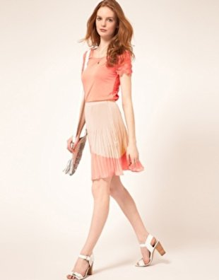Coral Color-Blocked Skirt