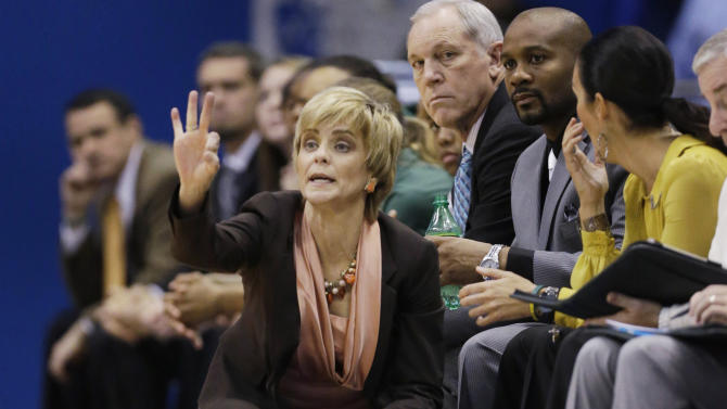 Baylor coach Kim Mulkey calls a play during the first half of an NCAA college basketball game against Kansas in Lawrence, Kan., Sunday, Jan. 13, 2013. Baylor defeated Kansas 82-60. (AP Photo/Orlin Wagner)