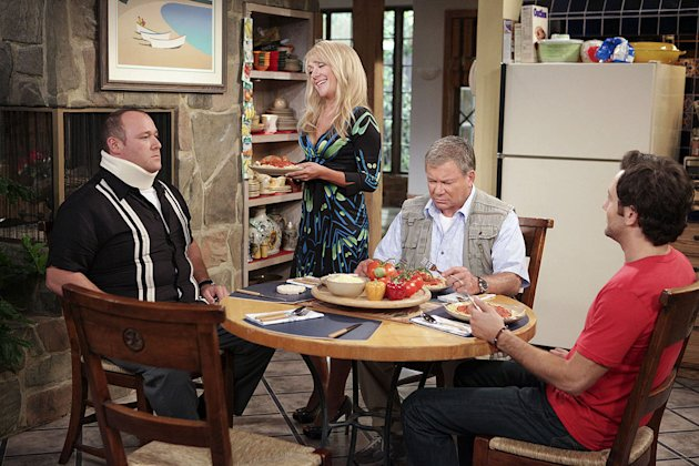 "Will Sasso as Vince, Nicole Sullivan as Bonnie, William Shatner as Ed, and Jonathan Sadowski as Henry in ""$#*! My Dad Says."""