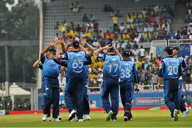 Players of Titans celebrates after taking wicket during match against Sunrisers Hyderabad at Karbonn Smart Champions League Twenty-20 Match at Jharkhand State Cricket Association (JSCA) International