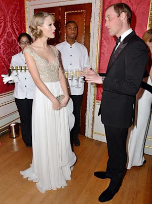 Taylor Swift Stuns in Crystal Gown at Winter Whites Gala With Prince William: Pictures