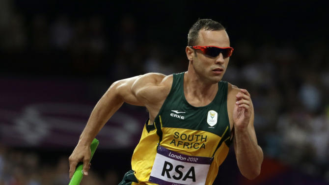 South Africa's Oscar Pistorius runs in the final leg of the men's 4 x 400-meter relay final during the athletics in the Olympic Stadium at the 2012 Summer Olympics, London, Friday, Aug. 10, 2012. (AP Photo/Anja Niedringhaus)
