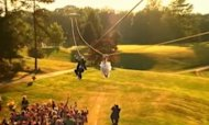 Zip Wire Wedding: Couple Fly Into Ceremony