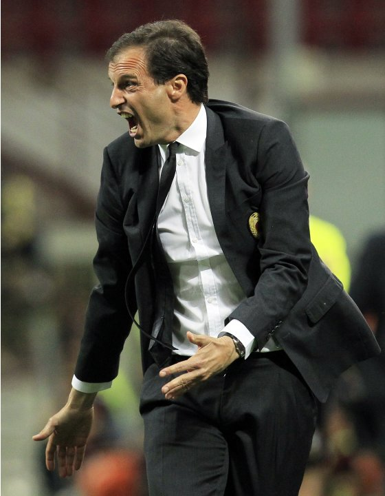 AC Milan's coach Massimiliano Allegri reacts during their Italian Serie A soccer match against AS Roma at the San Siro stadium in Milan