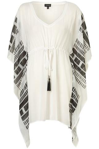 White Sheer Printed Kaftan Cover Up, $56, at Topshop
