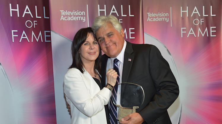 EXCLUSIVE - Mavis Leno, left, and Hall of Fame Inductee Jay Leno pose backstage at the 2014 Television Academy Hall of Fame on Tuesday, March 11, 2014, at the Beverly Wilshire in Beverly Hills, Calif. (Photo by John Shearer/Invision for the Television Academy/AP Images)