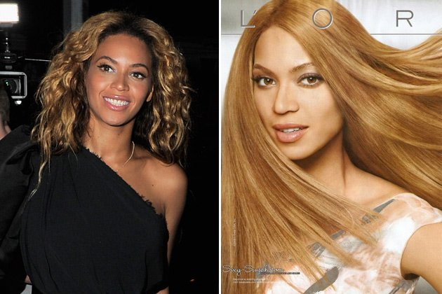 Beyonc&#xe9; nat&#xfc;rlich und 2008 in einer L'Or&#xe9;al-Kampagne (Bilder: Getty Images, PR)