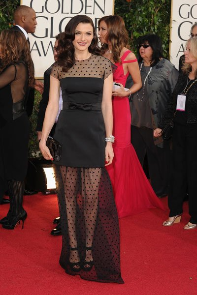 Rachel Weisz: Weisz, aka. Mrs. Bond, is flirty in polka dots. The sheer skirt and cute bow are chic and sweet. No wonder Daniel Craig married her. (Photo by Steve Granitz/WireImage)