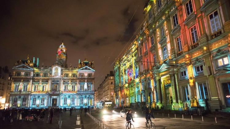 View of Le Prince des Lumieres installation by artist Damien Fontaine during the rehearsal for the Festival of Lights in central Lyon late in the night