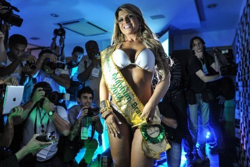 Carine Felizardo from Para state poses after winning the Miss Bumbum pageant in Sao Paulo on November 30, 2012. A jury of six women and five men picked the 25-year-old Felizardo among 15 finalists in the second annual edition of the contest, held in a Sao Paulo hotel