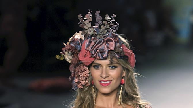 A model presents a creation by Paradizia during Colombiamoda fashion event in Medellin