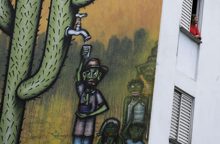 A resident looks out of her apartment in a building painted with a drought-related mural in Sao Paulo