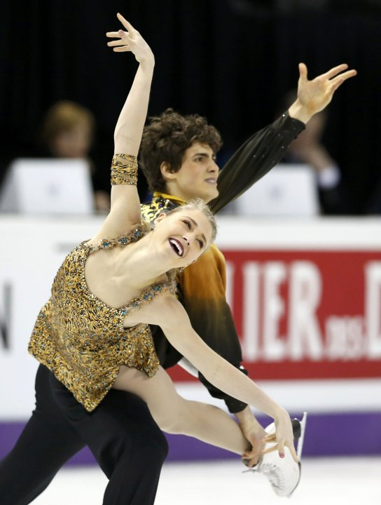 Gilles and Poirier of Canada perform their ice dance free dance at the ISU World Figure Skating Championships in London, Ontario