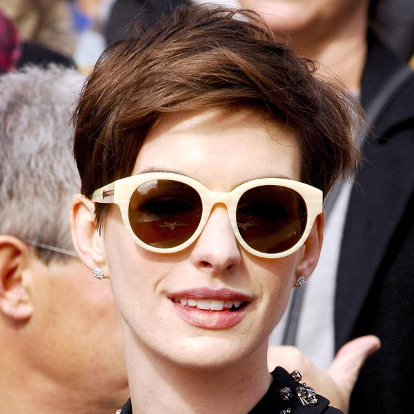 Anne Hathaway's choppy pixie crop is bang-on-trend for 2013 and works for anyone with Anne's delicate features and face shape ©Rex
