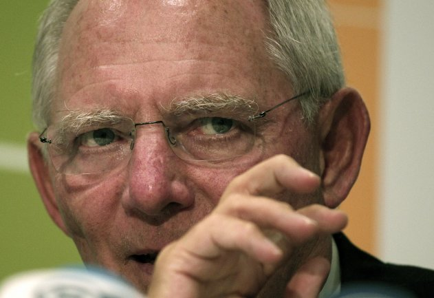 German Finance Minister Wolfgang Schauble talks to the media at the end of the ECOFIN meeting in Nicosia, on Saturday, Sept. 15, 2012. The creation of a banking union topped the agenda at an informal meeting of European finance ministers in the Cypriot capital. (AP Photo/Dimitri Messinis)