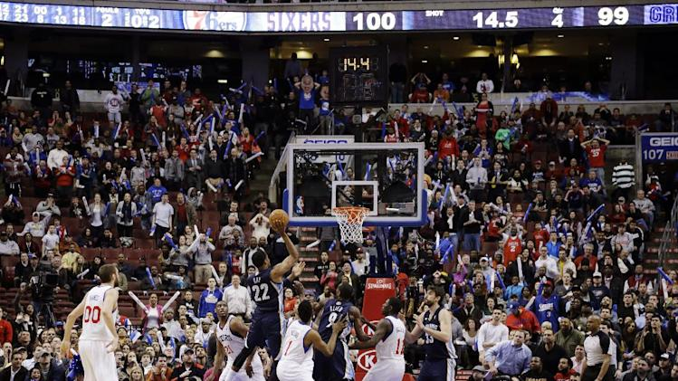 Memphis Grizzlies' Rudy Gay (22) shoots the go-ahead basket in the final minute of an NBA basketball game against the Philadelphia 76ers, Monday, Jan. 28, 2013, in Philadelphia. Memphis won 103-100. (AP Photo/Matt Slocum)