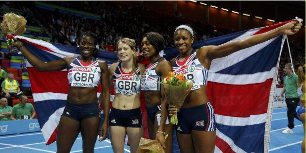 Ohuruogu, Child, Shakes-Drayton and Cox of Britain celebrate as they won the women's 4x400m Relay event during the European Athletics Indoor Championships in Gothenburg