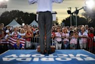 US Republican presidential candidate Mitt Romney speaks during a campaign event in St. Petersburg, Florida on October 5. President Barack Obama raised $181 million in September, his campaign said Saturday, in a huge boost for his re-election bid following a limp debate performance against Romney