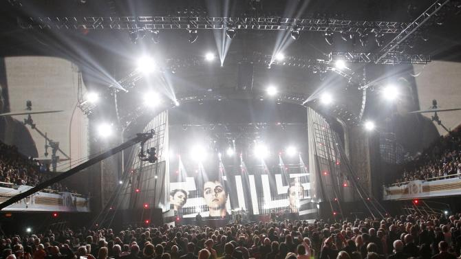 The band Green Day perform during the 2015 Rock and Roll Hall of Fame Induction Ceremony in Cleveland