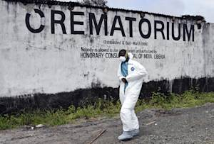 A crematorium where victims of Ebola are burned in …