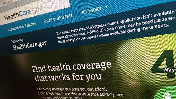 FILE - This Nov. 29, 2013 file photo shows part of the HealthCare.gov website in Washington, on Nov. 29, 2013. The new year brings the big test of President Barack Obama's beleaguered health care law: Does it work? The heart of the law springs to life Jan. 1, 2014, after nearly four years of political turmoil and three months of enrollment chaos. Patients will begin showing up at hospitals and pharmacies with insurance coverage bought through the nation's new health care marketplaces.(AP Photo/Jon Elswick, File)