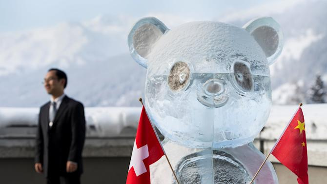 A panda ice sculpture is pictured during the launch of the Swiss-Sino year of tourism on the side line of the WEF in Davos