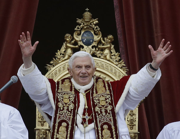 Pope Benedict XVI delivers his &quot;Urbi et Orbi&quot; (to the City and to the World) speech from the central loggia of St. Peter&#39;s Basilica, at the Vatican, Tuesday, Dec. 25, 2012. Pope Benedict XVI has wished Christmas peace to the world, decrying the slaughter of the &quot;defenseless&quot; in Syria and urging Israelis and Palestinians to find the courage to negotiate. Delivering the Vatican&#39;s traditional Christmas day message from the central balcony of St. Peter&#39;s Basilica, a weary-looking and hoarse-sounding Benedict on Tuesday also encouraged Arab spring nations, especially Egypt, to build just and respectful societies. (AP Photo/Gregorio Borgia)