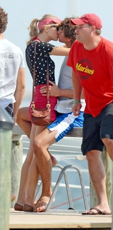 New couple Taylor Swift and Conor Kennedy share a kiss in Hyannisport, Mass., on August 17, 2012