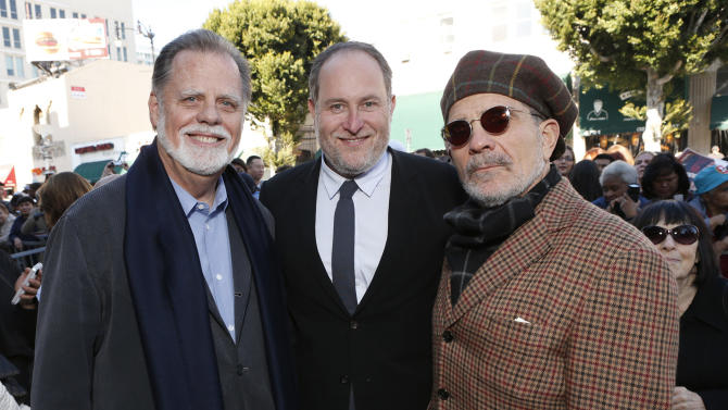 Taylor Hackford, Jon Turtletaub and David Mamet attend Helen Mirren's star on the Hollywood Walk of Fame Ceremony on January 3, 2013 in Hollywood, California.  (Photo by Todd Williamson/Invision for Fox Searchlight/AP Images)