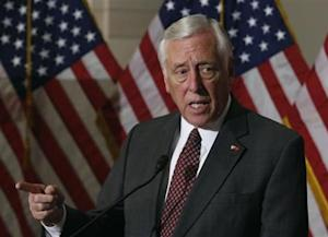 U.S. Representative Steny Hoyer (D-MD) talks to the media on Obamacare following a Caucus meeting on Capitol Hill in Washington