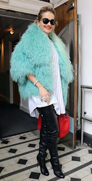 Rita Ora is wild in green furry coat and thigh-high leather Christian Louboutin boots