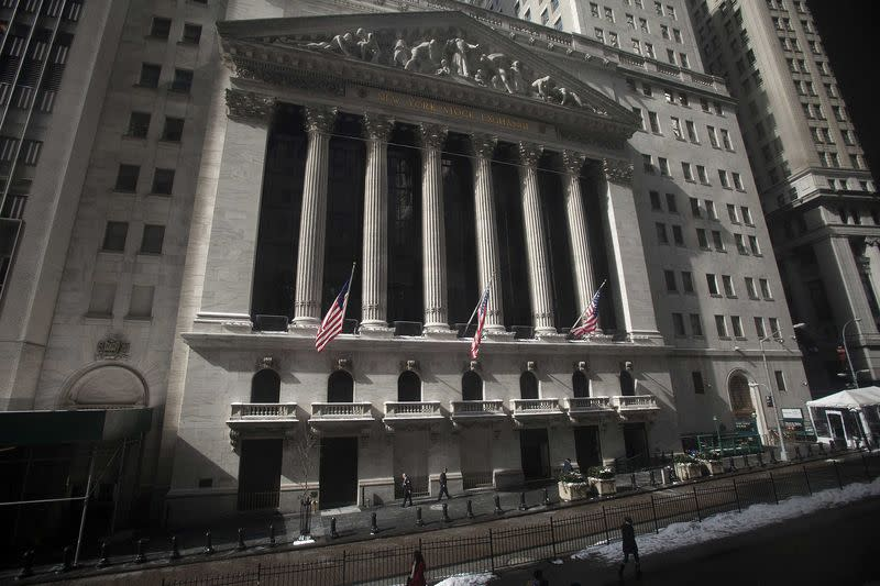 U.S. stocks ease from record highs, dollar falls