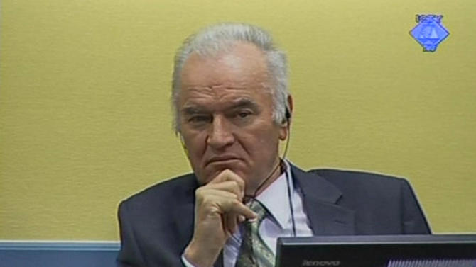 In this video image taken from ICTY video former Bosnian Serb military commander Gen. Ratko Mladic is seen on the second day of his trial at the Yugoslav war crimes tribunal in The Hague, Netherlands Thursday May 17, 2012. Prosecutors on Thursday were to outline their evidence of the alleged involvement of former Bosnian Serb military chief Gen. Ratko Mladic in Europe's worst mass murder since World War II, the 1995 Srebrenica massacre but the presiding judge in the trial suspended the case indefinitely due to disclosure errors by prosecutors. (AP Photo/ICTY video, Pool)   EDITORIAL USE ONLY