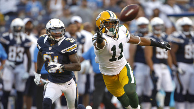 Green Bay Packers wide receiver Jarrett Boykin (11) can't pull in a pass as San Diego Chargers cornerback Gregory Gatson (31) watches during the second half of an NFL preseason football game Thursday, Aug. 9, 2012, in San Diego. (AP Photo/Lenny Ignelzi)