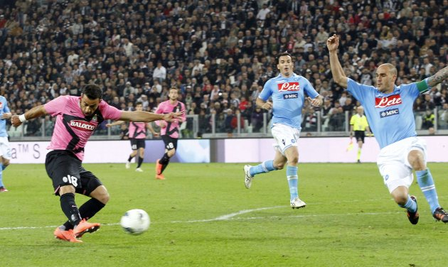 Juventus' Quagliarella  shoot and score against Napoli during their Italian Serie A soccer match in Turin