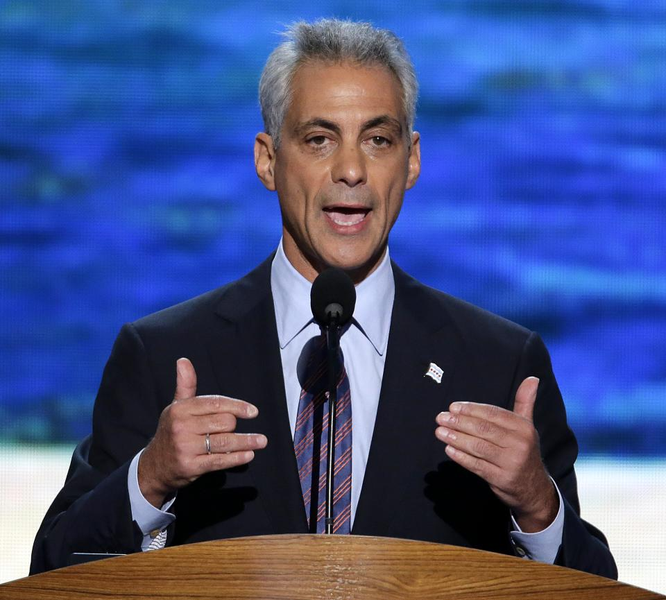 Chicago Mayor Rahm Emanuel addresses the Democratic National Convention in Charlotte, N.C., on Tuesday, Sept. 4, 2012. (AP Photo/J. Scott Applewhite)