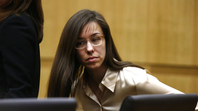 Jodi Arias appears for the sentencing phase of her trial at Maricopa County Superior Court in Phoenix, Wednesday, May 15, 2013. The same jury that convicted Arias of murder one week ago took about three hours Wednesday to determine that the former waitress is eligible for the death penalty in the stabbing and shooting death of her one-time lover in his bathroom five years ago. (AP Photo/The Arizona Republic, Rob Schumacher, Pool)