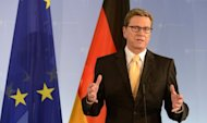 German Foreign Minister Guido Westerwelle, pictured earlier this week, vowed Thursday that the international community will block Iran from obtaining a nuclear weapon, as he underscored Germany's steadfast support for Israel