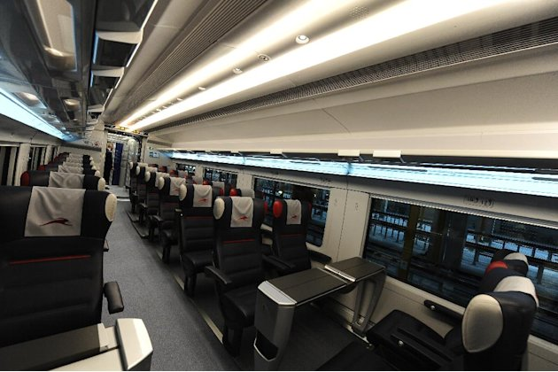 A view of a first class coach of an Italo, the NTV new high-speed train