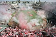 River's Monumental stadium in Buenos Aires before the start of Argentina's first division football match between River Plate and Boca Juniors in 2008. Argentina's Superclasico between Boca Juniors and River Plate takes place on Sunday, an historic and tragedy-tinged match once described as the world's most intense sporting experience