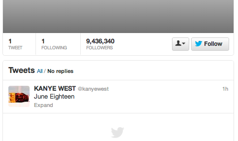 Kanye West Deletes All His Tweets, Leaves One: 'June Eighteen'