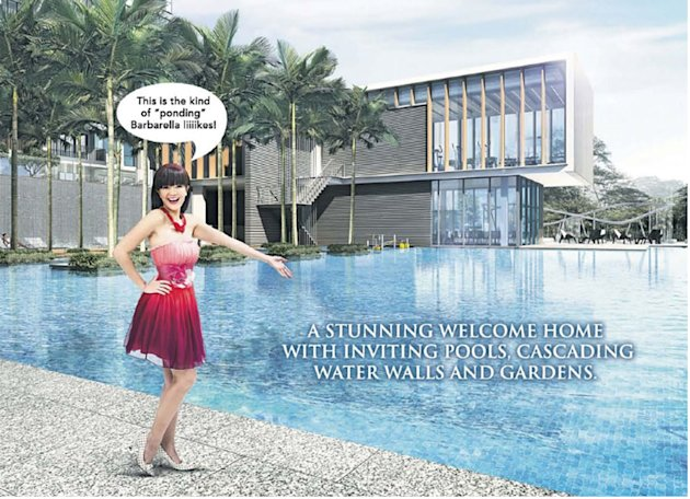 Michelle Chong won't be able to portray Barbarella in property ads like these anymore. (Yahoo! photo)