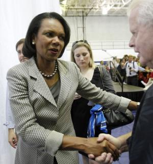 """Former Secretary of State Condoleezza Rice greets Romney supporters as she leaves  Broward College after a """"Get-Out-The-Vote"""" event in Davie, Fla., Monday, Nov. 5, 2012.  Romney is making a strong push for Florida voters.  (AP Photo/Alan Diaz)"""