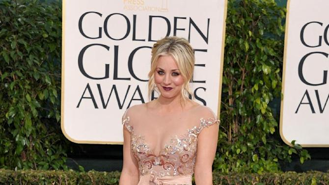 Actress Kaley Cuoco arrives at the 70th Annual Golden Globe Awards at the Beverly Hilton Hotel on Sunday Jan. 13, 2013, in Beverly Hills, Calif. (Photo by John Shearer/Invision/AP)