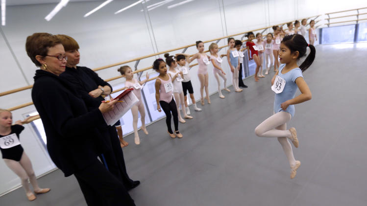 Tara Wei, 6, of New York, right, is evaluated by, from left, faculty co-chairman Kay Mazzo and faculty member Katrina Killianduring, during an audition for six-year old ballet hopefuls at the School of American Ballet, Friday, April 5, 2013 in New York.  (AP Photo/Jason DeCrow)